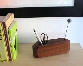SALE Large Claro Walnut Faceted Wood Desk Organizer with Felt Flower  LAST ONE!!