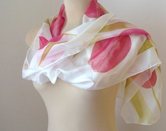 Silk scarf with tulips, Hand painted silk scarf, Floral scarf