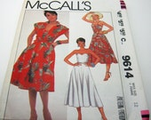 Sewing Pattern-McCall's 9614 Summer Dress Sleeveless Bustier top with Cover up   Vintage 1985