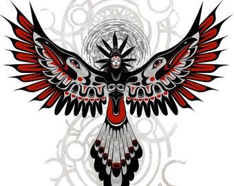 Divine Crow Shaman 11X14-Haida Fine Art print-Giclee Illustration-poster art
