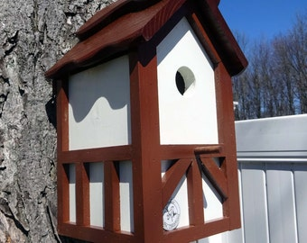 Tudor birdhouse, Nesting Box ,Old English bird house, birdhouse with cleanout, tree mount, post mount, Brown roof ,Made in USA
