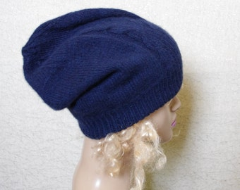 Navy Blue 8-ply  Pure Cashmere Cable Knit Slouchy Beanie Hat for Men or Women