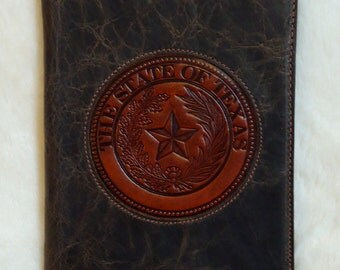 IN STOCK Leather Notebook, Distressed Brown Bomber Jacket Leather Notepad with Texas State Seal on Front