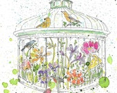 The Open Cage -Victorian Glasshouse with Birds and Flowers - Print of Original Pen and Watercolor Art