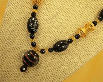 "Bead Pendant Necklace - Decorative Glass Bead Assortment - Gold Plated Hollow Metal Beads - Black Glass Spacer Beads - 18.5"" Length"