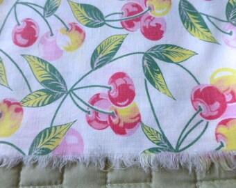 Vintage Cherries Cotton Fabric Remnant