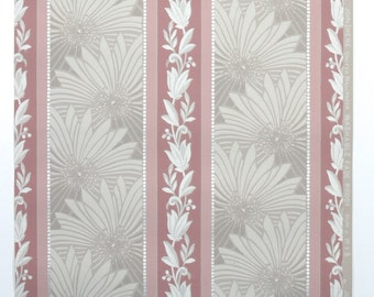 REMNANT of Vintage Wallpaper, Single 32 Inch Piece - Segmant of Botanical Wallpaper with Gray Leaves and Mauve Pink Floral Stripe