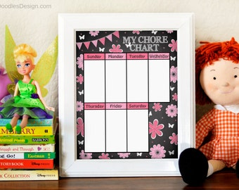 Printable Chalkboard and Pink Flowers Chore Chart, Girl's Chore Chart