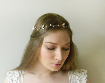 Delicate Crystal Leaf Hair Vine 'Asya' - hand wired Swarovski pearl bridal headpiece - style 014
