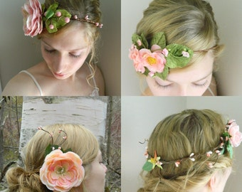 Flower Crown Grab Bag! Pink and Peach - Three flowercrowns, 1 headband, 2 clips, 1 comb for festivals photo shoots or weddings