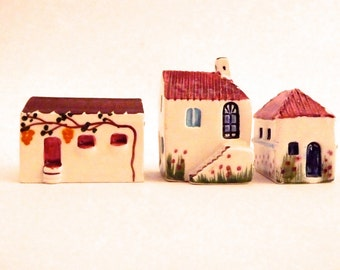 RESERVED Vintage Miniature Handpainted Ceramic Houses