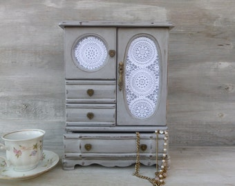 Paris Grey Distressed Jewelry Box