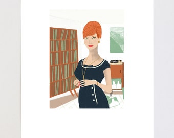 Joan Holloway Portrait Illustration Art Print