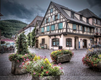 Fairytale Alsace village, famous Kaysersberg, small medieval village, art photo print small, very large, HDR dreamy fantastic print, France