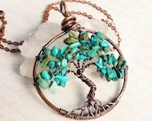Tree of Life Necklace, Turquoise, Copper Wire Pendant, Wire Wrapped Blue Gemstone, semiprecious stone tree, talisman necklace, gift for her