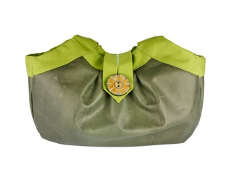 "Olive Green Distressed Leather Hobo Handbag, Large Shoulder Bag, Birdbags ""Puffin"" Purse"