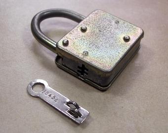 Vintage Padlock with Flat Socket Key, Mid Century East German Padlock, GDR Padlock Steel Body and Shackle with Flat Socket Key