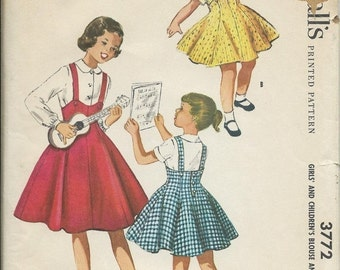 ON SALE 1950's McCalls 3772 Girls Blouse and Flared Jumper Pattern, Size 10 UNCUT