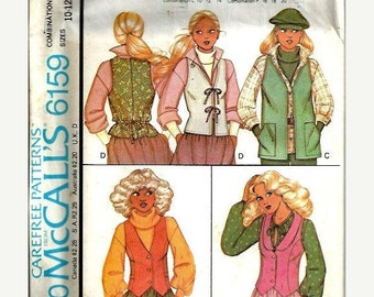 ON SALE McCall's 6159 Carefree Pattern, Misses Set of Vests, Size 10-12-14 UNCUT