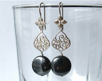 Sterling silver and hematite earrings