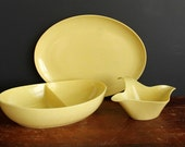 Vintage Melamine Yellow with White Speckle Serving Set Melmac Platter, Divided Bowl and Gravy Boat