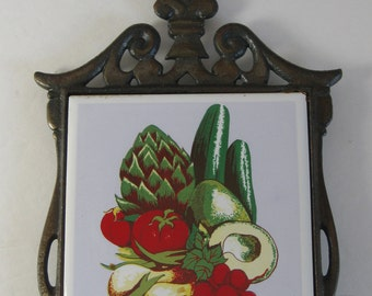 Vintage Kitchen Trivet, Vegetable Ceramic Tile, Cast Iron