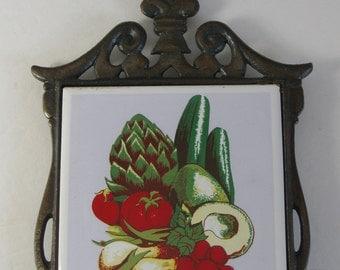 Trivet, Vintage Kitchen Trivet, Vegetable Ceramic Tile, Cast Iron