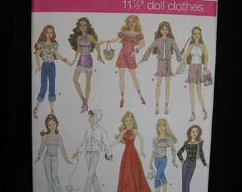 Simplicity 4702, contemporary Barbie doll clothes, designed by Andrea Schewe, 2004, pants, tops, skirts, dresses, suit, hoodie, sweater