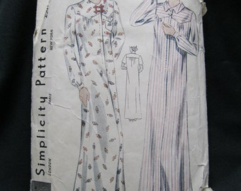 Size 48 bust, circa 1930's nightgown pattern, Simplicity 2507, high yoked with gathers, long or short sleeved, optional collar and pocket