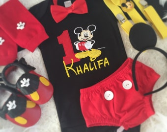 2-pc Mickey mouse Inspired Birthday outfit-includes personalised top and bottom