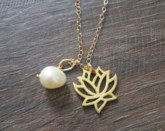 Lotus necklace, pearl necklace, gift for her