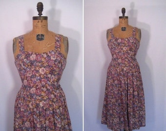 15% off sale : 1970s wilflower print sundress • 70s floral print day dress • vintage down by the riverside dress