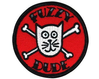 "Cat & Crossbones ""Fuzzy Dude"" Patch Badge Fun Jolly Roger Craft Iron-On Applique"
