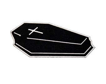 Coffin Black Casket Patch Halloween Vampire Funeral Embroidered Iron-On Applique