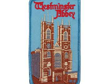 "London Souvenir ""Westminster Abbey"" Patch England Church Travel Iron-On Applique"