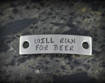 WILL RUN for BEER Personalized Shoe Tag for Runners - Inspirational Jewelry - Running Jewelry