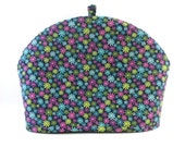 Flowers Tea Cozy, Dome Shape Fabric Cozy, Blue-Green-Pink, Fits 6 to 8 Cup Size Tea Pot, Daisies-Floral Tea Cosy, RedLeafStitchCraft