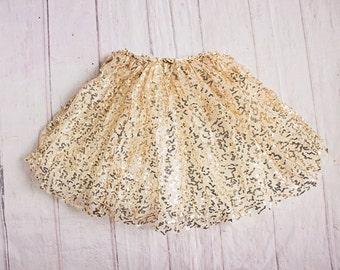 Girls Skirt...Flower Girl Rehearsal Outfit / Gold Sequins Skirt....Gold Petti Skirt...Girls Clothing..Baby Girl Outfit