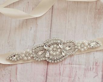 Bridal Sash...Champagne Rhinestone Belt -Flower Girl Sash..Bridal Belt/ Sash..Bridesmaid Coordinating Sashes..Maternity Sash / Wedding Sash