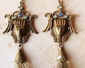 Vintage Unique KING TUT  Tutankhamun Egyptian motif Czech Blue Glass Pharoah Ramesses Head Drop Earrings signed CZECHO