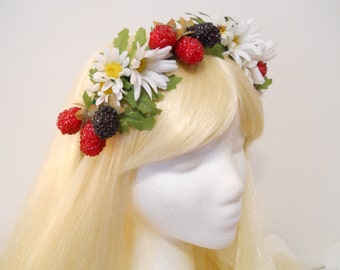 Daisy Flower Crown Berry Headband Wreath Daisies Raspberry Festivals Electric Daisy Carnival EDC Flower Girl Boho Wedding Summer Bride