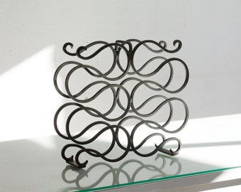 Vintage Wrought Iron Wine Rack, Spanish Revival Style