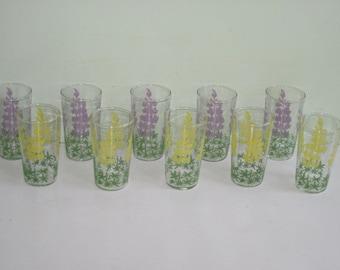 10 Vintage Lavender & Yellow Floral Juice Glasses Swanky Swigs