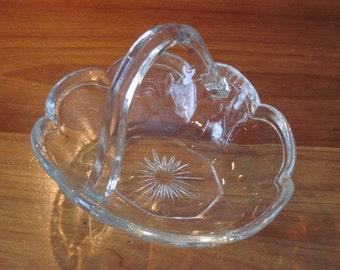 Vintage Crystal Depression Glass Basket