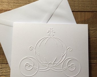 Pumpkin Carriage White Embossed Note Cards, Greeting Cards, Stationery Set, Carriage Note Cards, Fairy Tale Greeting Card, Princess Coach