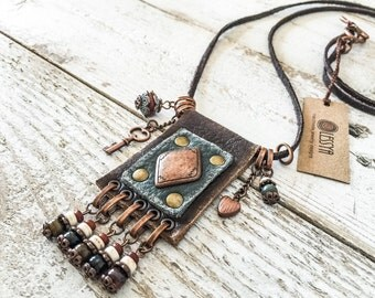 Ethnic Leather Necklace, Gypsy Boho Hippie Necklace, N023