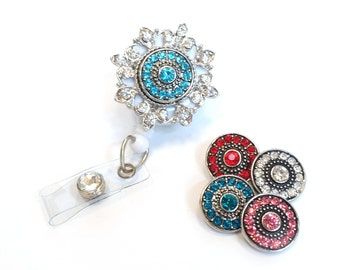 Color Bling - Interchangeable Badge Holders - Unique Badge Reels - Bling Badge Clips - Nurse Jewelry - Nurse Gifts - BadgeBlooms
