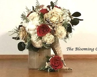 Wedding Bouquet, Winter red Bouquet,Fall bouquet,  Pine Cone Wedding,  Ready to ship, Bouquet,  Bridal Bouquet, Sola flowers, Handmade