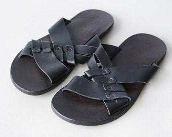 BATA vintage black leather men slides mules summer shoes Size 8
