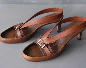 SERGIO ROSSI vintage brown leather canvas mid high heel sling back sandals shoes 37 7